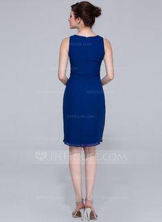 Sheath/Column V-neck Knee-Length Cascading Ruffles Zipper Up Regular Straps Sleeveless No Royal Blue Spring Summer Fall General Plus Chiffon Bridesmaid Dress