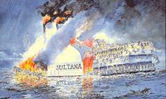 SS Sultana, a steamship that regularly traveled from St. Louis to New Orleans, was commissioned by the war department to transport just-released Union prisoners of war back home. The ship was legally registered to carry a maximum of less than 400 people, but with the government paying $5 per soldier, 2,300 soldiers were packed in so tightly that they could barely stand. At 2 a.m., April 27, three of the ship's boilers exploded sending passenger, most of who couldn't swim to their deaths.