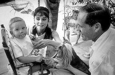 Audrey Hepburn, Mel Ferrer and Sean Ferrer on his 1st birthday   Photo Bob Willoughby