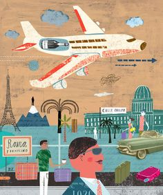 editorial illustration by Martin Haake Collage Illustration, Travel Illustration, Character Illustration, Airplane Illustration, Travel Gallery Wall, Travel Wall Art, Collages, City Scene, Retro Art