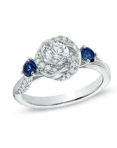 Vera Wang LOVE Collection 5/8 CT. T.W. Diamond and Blue Sapphire Swirl Engagement Ring in 14K White Gold  19962214 by Vera Wang LOVE at Zales // More from Vera Wang LOVE at Zales: http://www.theknot.com/gallery/wedding-rings/Vera Wang LOVE at Zales