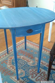 Annie Sloan Napoleonic Blue Table by The Painted Drawer Flipping Furniture, Table, Painted Table, Vintage Table, Painted Furniture, Vintage Furniture, Small Tables, Blue Table, Painted Drawers