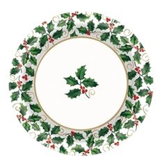 Holiday Holly Plates - 10 Inch, 8 Pack from Windy City Novelties