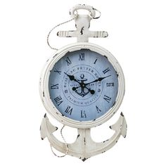 Clock for office. [Bring a touch of nautical-inspired style to your decor with this charming wood and metal wall clock, showcasing an anchor design and Roman numeral dial. Nautical Clocks, Nautical Home, Nautical Anchor, Nautical Style, Vintage Nautical Decor, Nautical Interior, Navy Anchor, Nautical Jewelry, Wood Home Decor