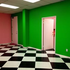 Aaand theaccent wall is complete! At Lime Crime HQ.... love the floors/color combo