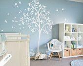 Albero bianco parete decalcomania scorrimento rami fiori foglie e simpatico gatto capriccioso grande albero murale sticker bambini camera muro art tatuaggio 051