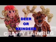Rainbow Loom Band DEER OR CHRISTMAS REINDEER or Rudolph Charm How to Make by Crafty Ladybug - YouTube