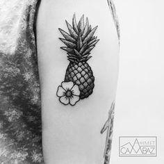 Pineapple and hibiscus tattoo