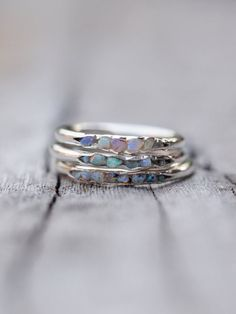 Opal Fossil Ring // Hidden Gems Delicate - but I still lean toward the more formal style of stone setting.