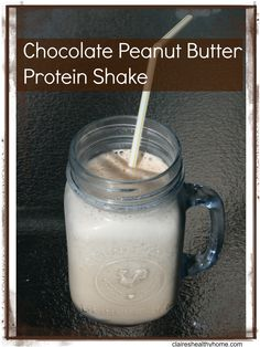 Chocolate Peanut Butter Protein Smoothie  Creamy and chocolatey!  YUM  Healthy, nutritious, easy  Make for breakfast or as a healthy snack or dessert.
