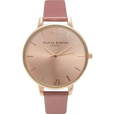 Olivia Burton OB15BD78 rose gold-plated watch (355 RON) ❤ liked on Polyvore featuring jewelry, watches, bracelets, oversized watches, rose gold tone jewelry, olivia burton watches, vintage style watches and dial watches