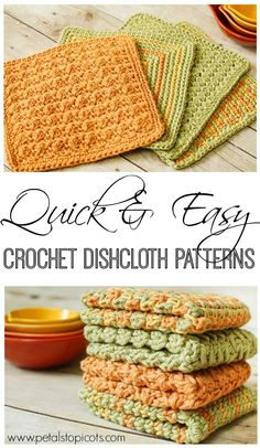 I love making crochet dishcloths! They are a great take-along project and work up quickly. Plus, there is such a simple pleasure that can be had from using a handmade dishcloth. They are also perfect to give as gifts ... just add some scented soap in a little basket and you have the perfect housewarming or hostess gift! #petalstopicots