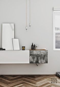concrete basin incorporated into floating vanity #bathroom #vanity #inspiration www.vainpursuits.com