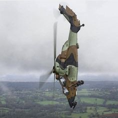 Eurocopter (Airbus) Tiger attack helicopter in a dive during a training exercise.