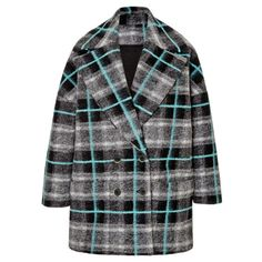 MSGM Felted-Wool Plaid Coat ($970) ❤ liked on Polyvore featuring outerwear, coats, jackets, coats & jackets, multi, plaid coat, oversized wool coat, woolen coat, wool coat and wrap coat