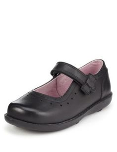 SALE /'Una Ivy BL/' Girls Black Leather Shoes