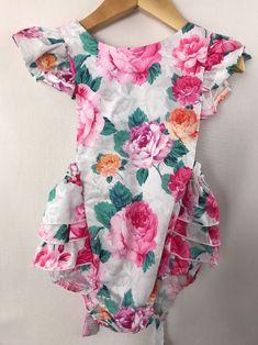 f30ec4e2779 Vintage 80 s Baby Girl Floral Roses Ruffle Butt Bottom Romper Sunsuit 2T  24mo