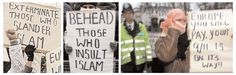 A demonstration against the Danish cartoons, London, February 2006. So intimidated by Muslim extremist threats were the normally robust British media, that not one British paper or magazine reproduced the Danish cartoons even to accompany articles explaining what the controversy was about.
