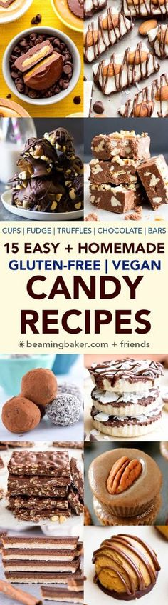 15 Easy Gluten Free Vegan Homemade Candy Recipes (V, GF): a decadent collection of the tastiest homemade candy recipes to satisfy your sweet tooth! #Vegan #GlutenFree #DairyFree #Paleo #Candy #Dessert   BeamingBaker.com