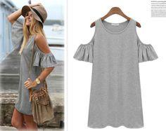 Butterfly Sleeve Casual Shorty Dress in Grey
