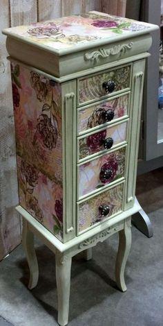 Jewelry Box Repurposed Jewelry Armoire Custom Made To by funandfancydesigns Decoupage Furniture, Hand Painted Furniture, Funky Furniture, Paint Furniture, Shabby Chic Furniture, Decoupage Ideas, Jewelry Box Makeover, Armoire Makeover, Furniture Makeover