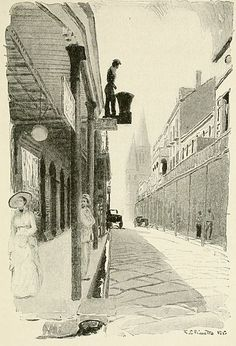 """A Street in the Old French Quarter"". Illustration of Chartres Street, New Orleans, looking upriver towards St. Louis Cathedral, 1913. Date	1913 (artwork dated) 1916 (publication) Source	Illustration in book ""Our Hispanic Southwest"" by Ernest Peixotto,"