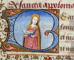 Book of Hours, MS G.1.II fol. 281r - Within initial B, three-quarter figure of Apollonia of Alexandria, nimbed, holding open book with right hand and pincers with left hand. Margins decorated with border of floreate ornament.