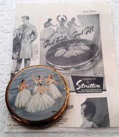 Stratton ballet compact, together with the original Stratton advertisement for the same compact. Vintage 1950s Stratton, by NanaBarbarastreasure on Etsy