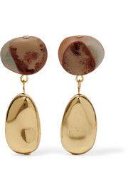 Short Mineral gold-filled resin earrings