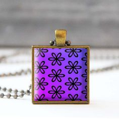 Purple necklace Flower picture necklace Photo charm necklace Square pendant necklace Glass dome jewelry Gift for her 5054-3 by StudioDbronze
