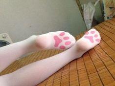 below the knee high kitten paw print socks! Purrfect for Meulin Cosplay
