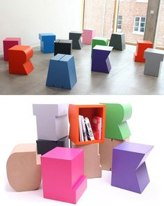 """""""Art-can-break-your-heart"""" - nice piece of furniture, to be used as table, storage device and/or seating element, available in 240 colours."""