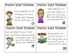 Fraction word problems.