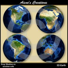 This pack contains 8 3D earth graphics showing the different continents.