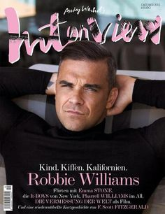 Pop Interview-Sean + Seng photograph music artist Robbie Williams for the October 2012 cover of German Interview. Interviewed by Neil Tennant of the Pet Shop… F Scott Fitzgerald, Robbie Williams, Stoke On Trent, Pharrell Williams, Emma Stone, Top 10 Actors, Neil Tennant, Oliver Wood, Interview