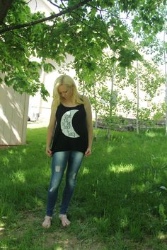 Love You to the Moon and Back Tank in Black