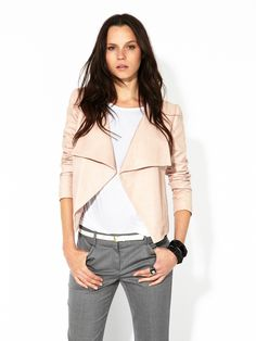 theory rose colored leather jacket