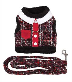Red Tweed Dog Harness Vest w Leash