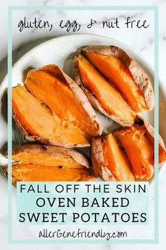 FALL OFF THE SKIN oven-baked sweet potatoes sweet potatoes. Generously prick sweet potatoes with a fork. Place sweet potatoes directly on middle rack of the cold oven. Place a foil-lined baking sheet on bottom oven rack. Turn oven to 425 and set timer for 60 minutes (the oven preheating is part... Healthy Dishes, Easy Healthy Recipes, Real Food Recipes, Free Recipes, Yummy Food, Roasted Vegetable Recipes, Dairy Free, Gluten Free, Side Dish Recipes