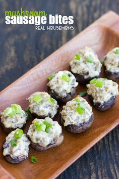 The creamy mushroom and Italian sausage filling in these mushroom sausage bites is sure to delight the taste buds of all who eat them! Easy Appetizer Recipes, Appetizer Dips, Yummy Appetizers, Easy Recipes, Sausage Appetizers, Kraft Recipes, Party Appetizers, Keto Recipes, Snack Recipes