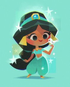 Princess Jasmine - Art Print Board: All About Disney Disney Pixar, Chibi Disney, Kawaii Disney, Disney Animation, Disney And Dreamworks, Disney Cartoons, Disney Princess Cartoons, Punk Disney, Disney Facts