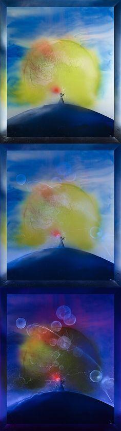 Luminescent painting LEO THE MONK ● 2014, canvas   acrylic, daylight and UV light • Painting Ideas   Home Decor   Art   Art Ideas   Contemporary Art   Abstract Art   Fine Art • Available on Etsy •