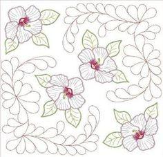 Home Machine Quilting Designs   quilt block design with hibiscus feather quilting designs quilt block