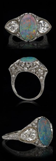 Tiffany & Co. - A Belle Epoque platinum, opal and diamond ring. #Tiffany #BelleÉpoque #ring