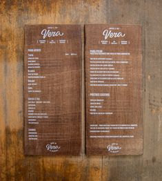 For Vera's menu el Calotipo chose lettering that best represented the food and drink selections. The menus are printed manually on an in-house press without the prices. Then, the prices are printed on stickers so they can be easily updated.