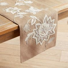 Our burlap table runner is a little bit rustic and a little bit romantic, thanks to natural jute construction and embroidered ivory flowers. 3d Wall Murals, Burlap Table Runners, Table Toppers, Table Linens, Home Textile, Home Art, Rustic, Floral, Furniture