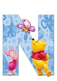 Cute Winnie The Pooh, Winnie The Pooh Birthday, Winnie The Pooh Friends, Disney Alphabet, Alphabet Art, Monogram Letters, Letters And Numbers, Eeyore, Tigger