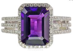 Deep Purple Amethyst and Diamond ring