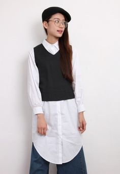 2-In-1 Cropped Vest + Shirt Dress