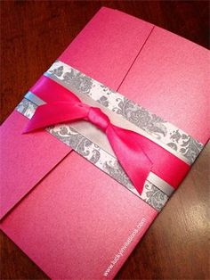 Pink, white and gray wedding invitation by Lucky Invitations
